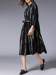 Lynette Contrasting Stripes Belted Dress