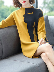 Girl's Face Stitching Sweater Dress