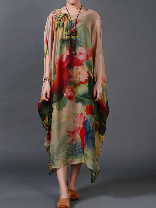 Rumpled Shoulder Dolman Silk Dress