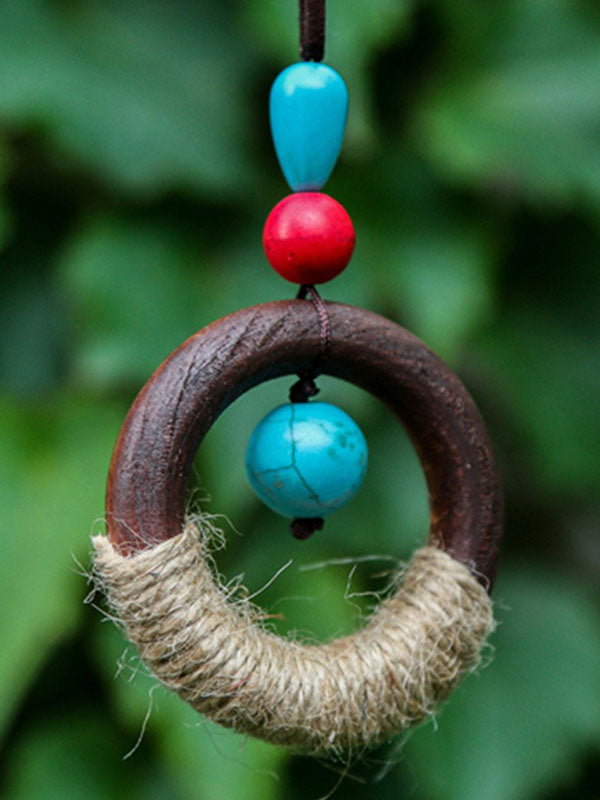 Wooden Circle Retro Necklace