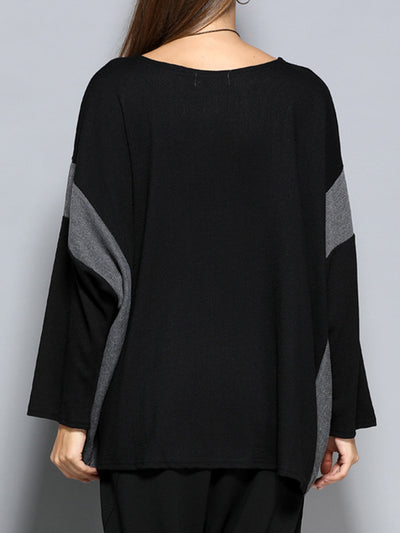 Nora Round Neck Contrast Color Joint Sweater Top with Vertical Stripes