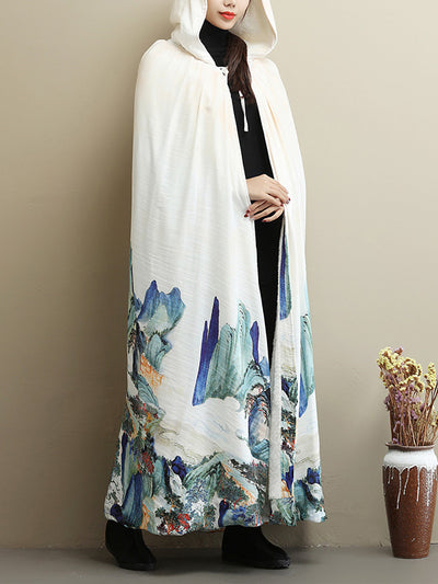 Thickened Vintage Printed Cape Coat