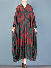 Pale Fire Floral Print Bat Sleeves Maxi Dress
