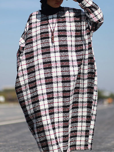 Plaid Print Woolen Kaftan Dress