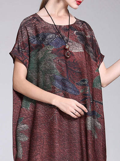 Keva Round Neck Floral Prints A-Line Dress