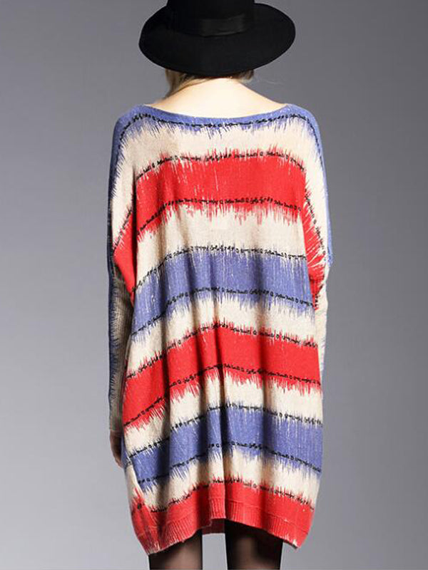 Belinda Knitted Wool Blend Sweatshirt with Stripes Inking Waves