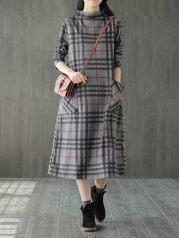 Marsha High Neck Cotton Vintage Midi Dress with Plaids Prints