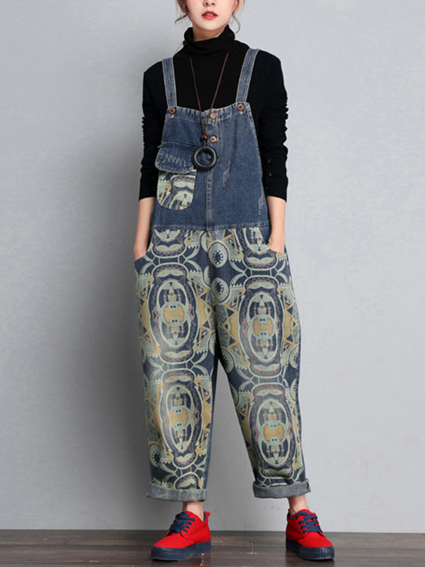 Hippie Denim Overalls Dungarees with Prints