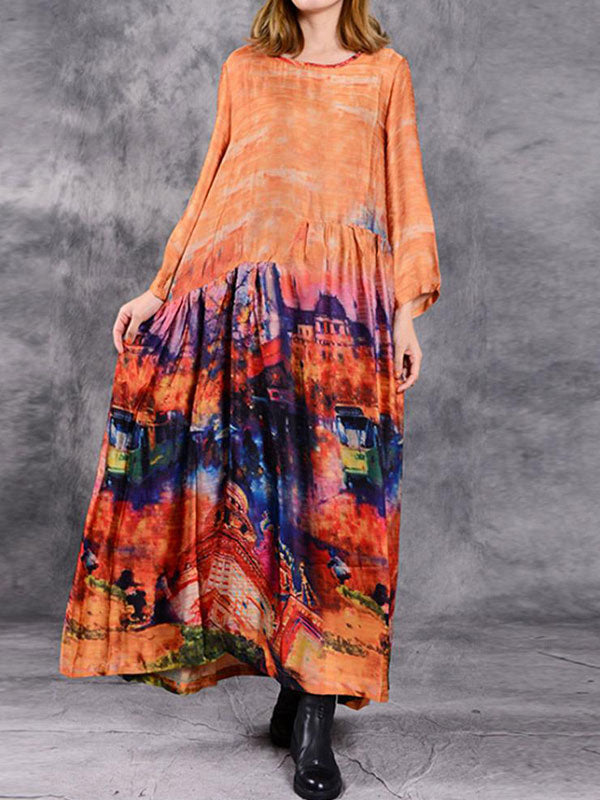 Ruffle Waist Digital Print Maxi Dress