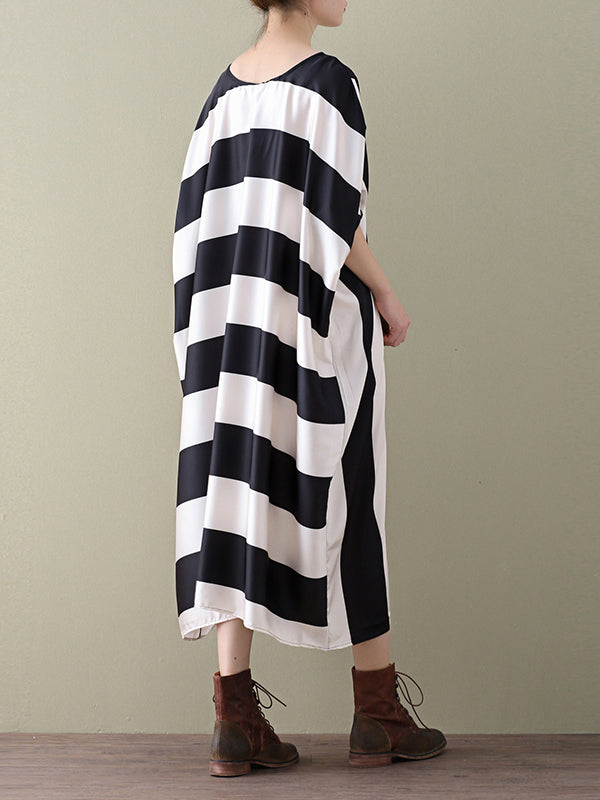 Jennifer Round Neck Chiffon Maxi Dress with Stripe Crosses