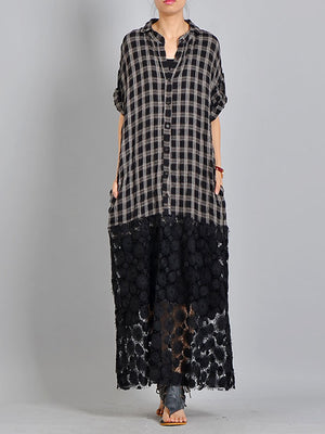 Plaided Lace Maxi Shirt