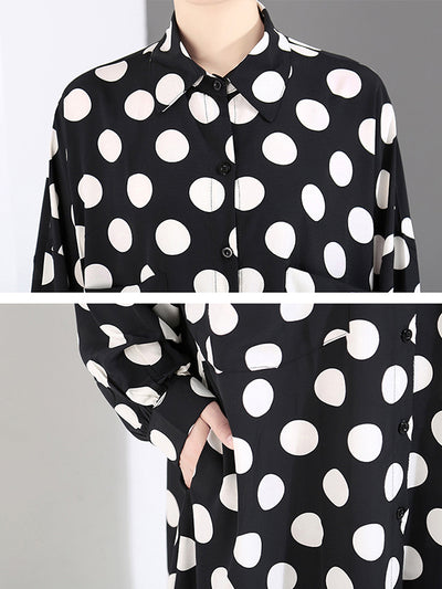 Aamina Polo Collar Dot Printed Loose Shirt Dress