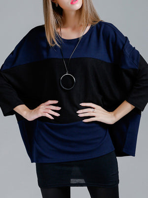 Jennie Contrast Color Pullover Knit Top with Batwing Sleeves