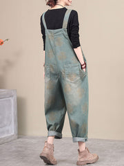 Mistletoe Patched Pocket Cotton Overalls Dungarees