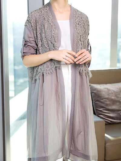 Lace Body Button Up Sleeve Cardigan