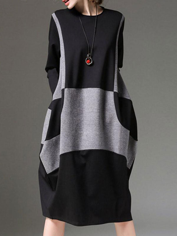 High Quality Two-Tone Back Zipped Midi Dress