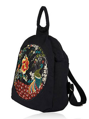 Peacock Embroidered Hmong Backpack