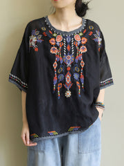 Hight of Robe Floral Embroidered Basic Top