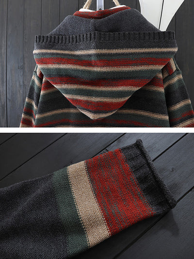 Striped Hooded Cardigan with Pockets