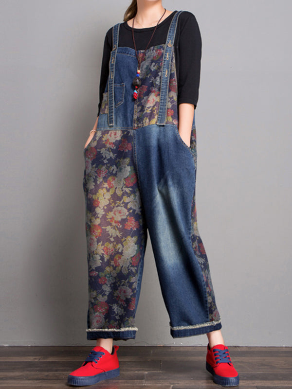 Allison Wide Leg Abrasion Denim Overall Dungarees with Floral Prints