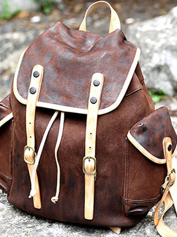 High Quality Leather Man Made Backpack