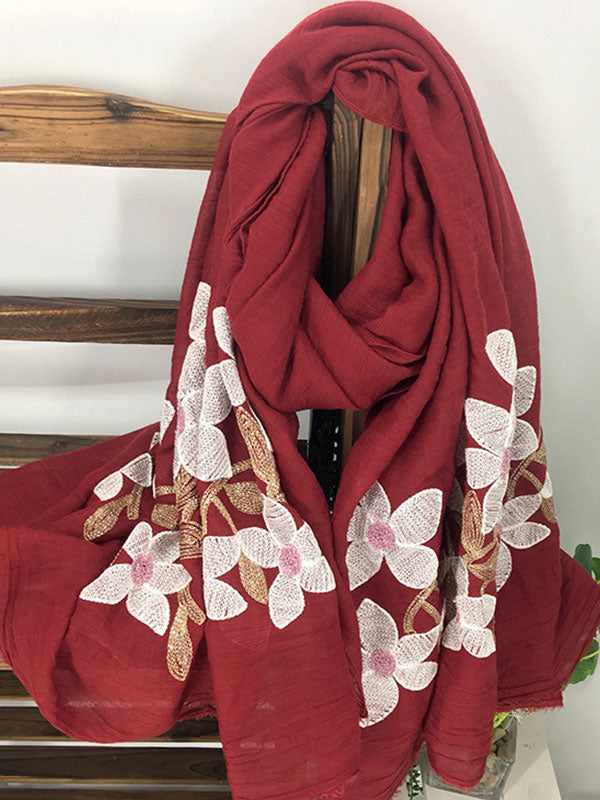 Crewel Work Embroidered Scarf