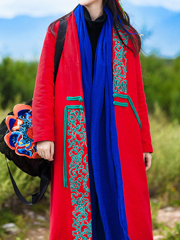 Bertha Ethnic Single Breasted Cotton Overcoat with Embroidery