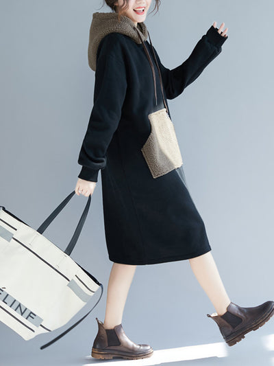 Lamb Cashmere & Cotton Hooded Sweatshirt Dress