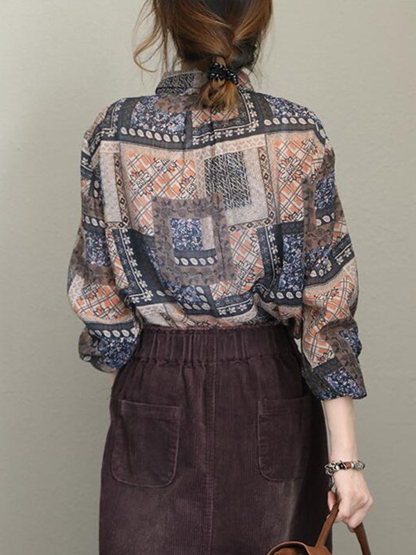 Jaclyn Matching Geometric Floral Print Ethnic-style Lapel Tops