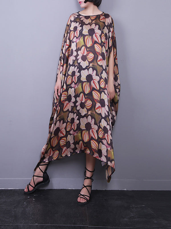 Mary Round Neck Silk Maxi Dress with Floral Prints
