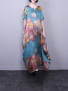 Elizabeth Ethnic Neck Maxi Dress with Floral Inking