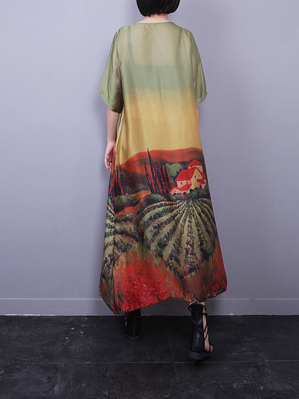 Nancy Round Neck Gradient Silk Maxi Dress with Floral Prints