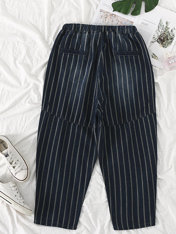 Joint Stripe Abrasion Harem Denim Pants