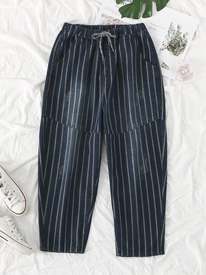 Joint Stripe Abrasion Harem Pants