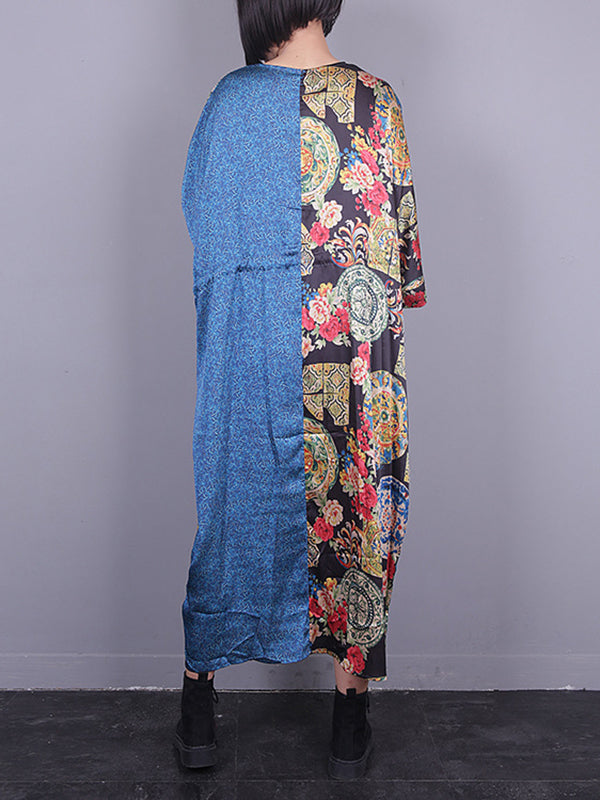 Maria V Neck Pocket Maxi Dress with Ethnic Prints