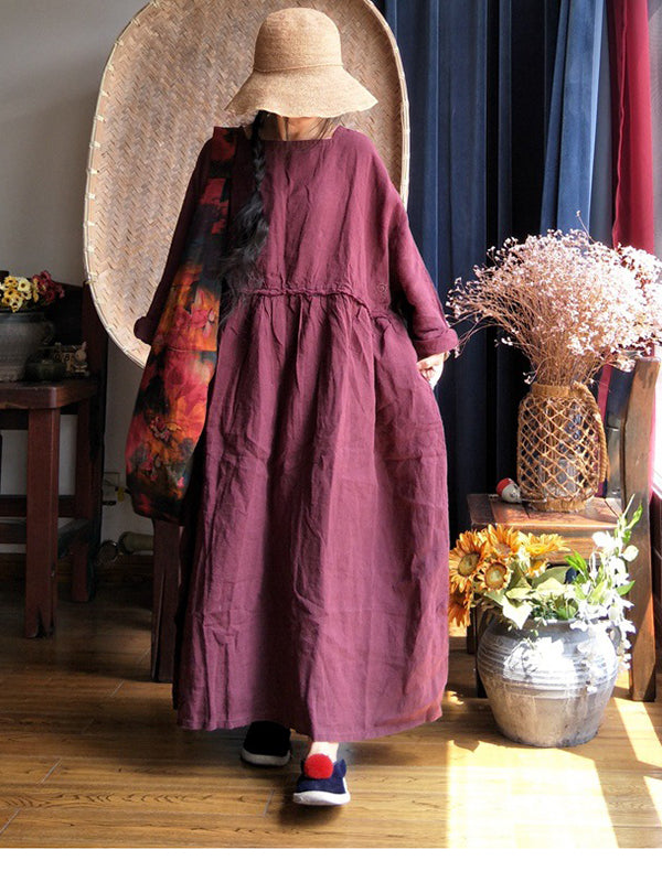 Thicken Linen Swing Maxi Dress with Batwing Sleeves(Pre-sell)
