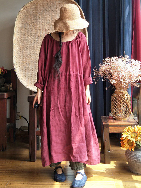 Vintage Linen Swing Maxi Dress with Drawstring Neck