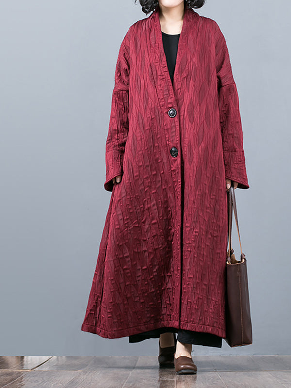 Thicken Simplicity Buttoned Overcoat with Sparse Texture