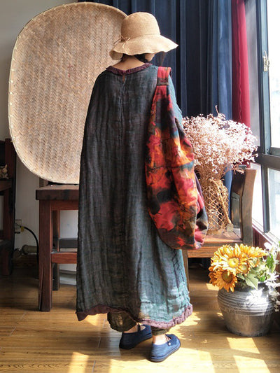 Double-Sided Linen Maxi Dress with Sparse Texture(Pre-sell)