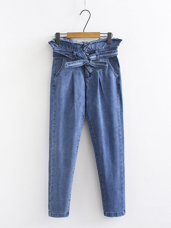 Bowknot High Waist Vintage Denim Pants
