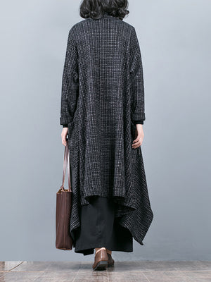 Asymmetric Plaid Coat with Loud Pockets