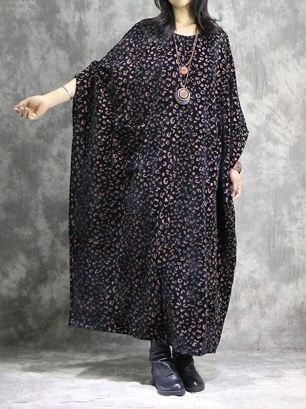 Leopard Print Maxi Dress with Batwing Sleeves