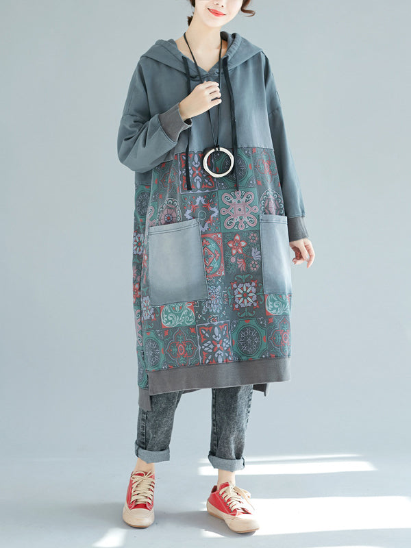 Wash & Distress Midi Dress with Ethnic Pattern Prints