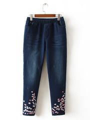Shivering Embroidery Abrasion Flannel Pants