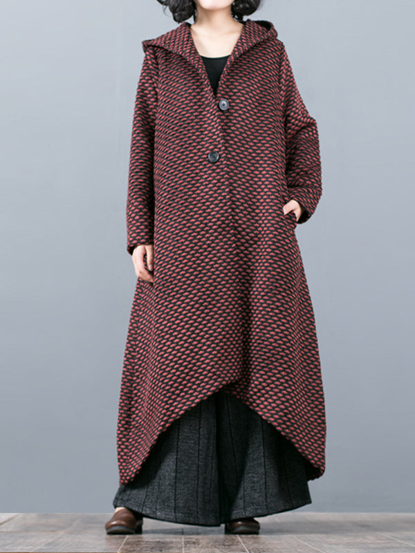 Hooded Jacquard Woolen Overcoat with Swallow Tail