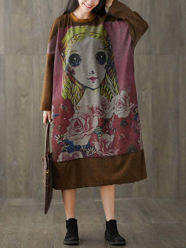 Batwing Sleeve Maxi Dress with Cartoon Gal Portrait Prints