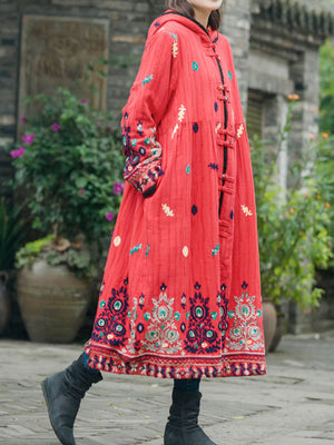 Cathy Pocket Overcoat with Ethnic Embroidered Flowers