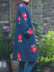 V Neck Cotton Vintage Overcoat with Ethnic Shivering