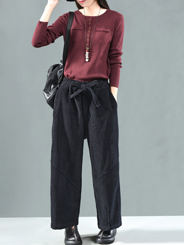 Bridget Flared Corduroy Trousers with Bow