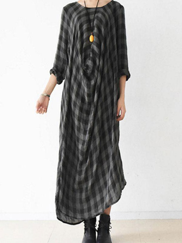 Checkered Irregular Midi Dress